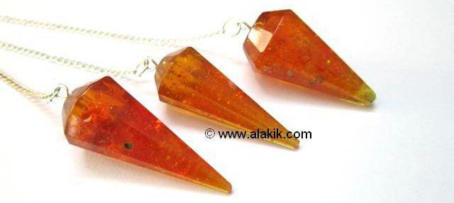 Amber Facetted Pendulum