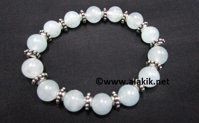 Aquamarine Elastic Bracelet With Tire Bead