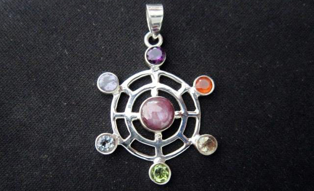 Chakra Double Round with centre Ruby Pendant