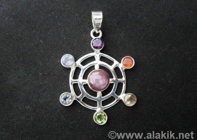 Chakra Double Round with centre Ruby Pendant for Sale-Alakik Universal Exports USA