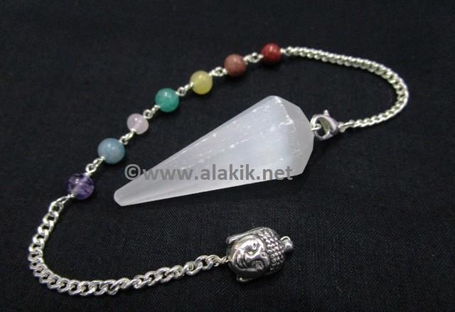 Selenite 8 Facet Pendulum With Chakra Buddha Chain